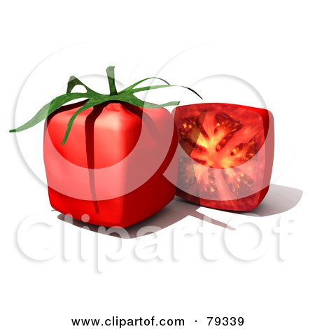 Royalty-Free (RF) Clipart Illustration of a 3d Half Cubic Genetically Modified Tomato By A Whole Tomato by Frank Boston