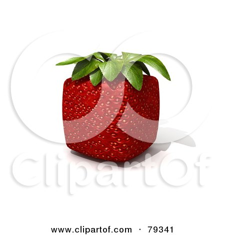 Royalty-Free (RF) Clipart Illustration of a Whole 3d Cubic Genetically Modified Strawberry by Frank Boston