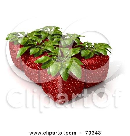 Royalty-Free (RF) Clipart Illustration of a Group Of Six Whole 3d Cubic Genetically Modified Strawberries by Frank Boston