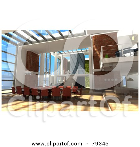 Royalty-Free (RF) Clipart Illustration of a 3d Modern Interior With An Office Conference Table by Frank Boston