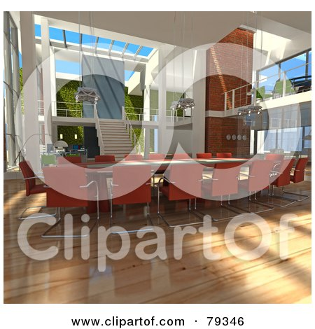 Royalty-Free (RF) Clipart Illustration of a 3d Modern Interior Of An Office Conference Table by Frank Boston