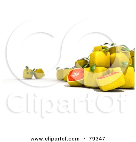 Royalty-Free (RF) Clipart Illustration of a 3d Group Of Whole And Halved Cubic Genetically Modified Grapefruit by Frank Boston