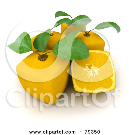 Royalty-Free (RF) Clipart Illustration of a 3d Half Cubic Genetically Modified Lemon By Whole Lemons by Frank Boston