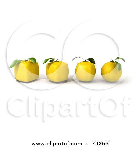 Royalty-Free (RF) Clipart Illustration of a 3d Row Of Round Lemons Evolving Into Cubic Genetically Modified Fruits by Frank Boston