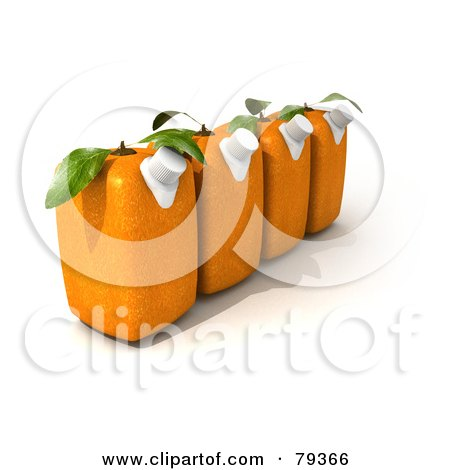 Royalty-Free (RF) Clipart Illustration of a Row Of Four 3d Orange Genetically Modified Juice Cartons by Frank Boston
