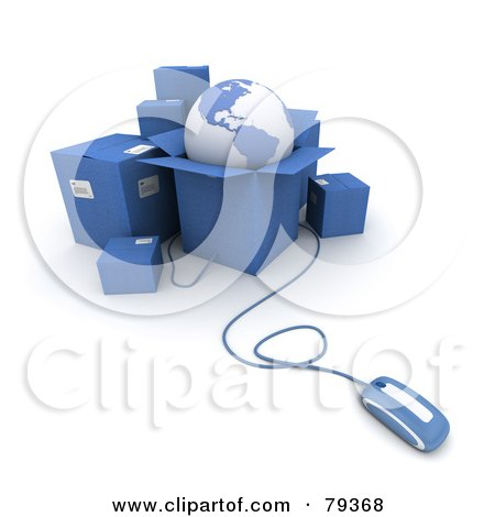 Royalty-Free (RF) Clipart Illustration of a 3d Computer Mouse Connected To Blue Shipping Boxes And A Globe - Version 2 by Frank Boston