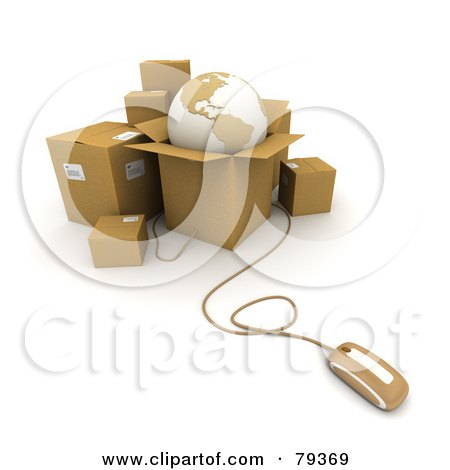 Royalty-Free (RF) Clip Art Illustration of a 3d Computer Mouse Connected To Shipping Boxes And A Globe - Version 1 by Frank Boston