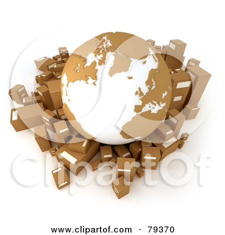 Royalty-Free (RF) Clipart Illustration of a 3d Brown And White Globe Over Cardboard 3d Boxes by Frank Boston
