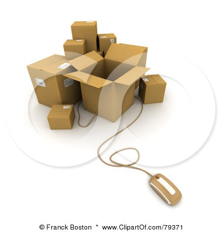 Royalty-Free (RF) Clipart Illustration of a 3d Computer Mouse And Cardboard Parcel Boxes - Version 1 by Frank Boston