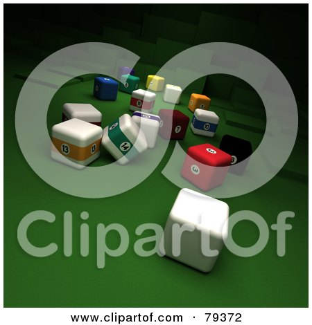 Royalty-Free (RF) Clipart Illustration of 3d Cubic Billard And Cue Balls by Frank Boston