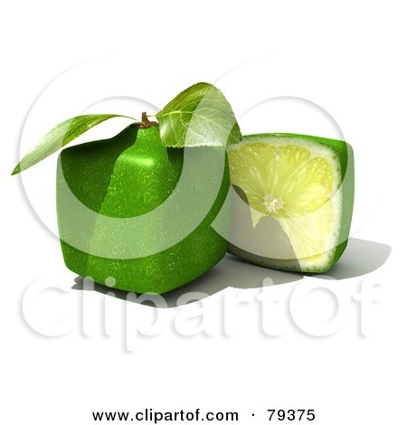 Royalty-Free (RF) Clipart Illustration of a 3d Half Cubic Genetically Modified Lime By A Whole Lime by Frank Boston
