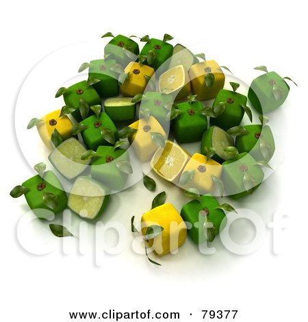 Royalty-Free (RF) Clipart Illustration of a Group Of Whole And Halved 3d Cubic Genetically Modified Limes And Lemons - Version 2 by Frank Boston