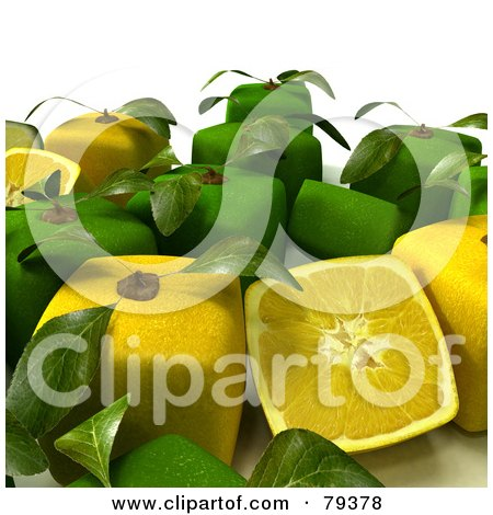 Royalty-Free (RF) Clipart Illustration of a Group Of Whole And Halved 3d Cubic Genetically Modified Limes And Lemons - Version 1 by Frank Boston