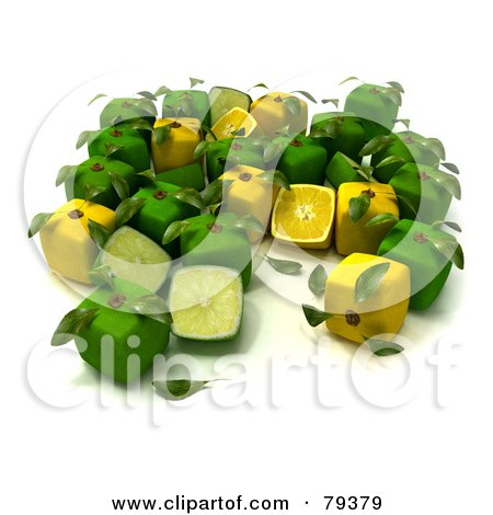 Royalty-Free (RF) Clipart Illustration of a Group Of Whole And Halved 3d Cubic Genetically Modified Limes And Lemons - Version 3 by Frank Boston