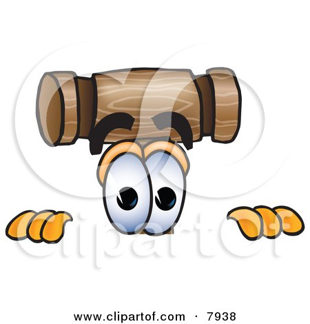 Clipart Picture of a Mallet Mascot Cartoon Character Peeking Over a Surface by Toons4Biz