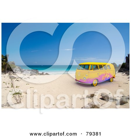 Royalty-Free (RF) Clipart Illustration of a Colorful 3d Hippie Van On A Tropical Beach by Frank Boston