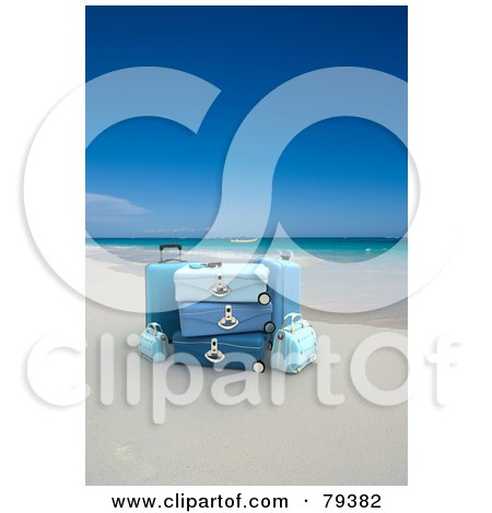 Royalty-Free (RF) Clipart Illustration of 3d Stacked Blue Luggage On A Tropical Beach by Frank Boston