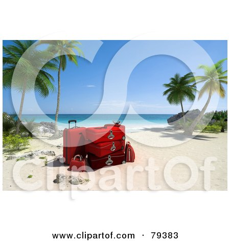Royalty-Free (RF) Clipart Illustration of a Stack Of 3d Red Luggage On A Tropical Beach With Palm Trees by Frank Boston