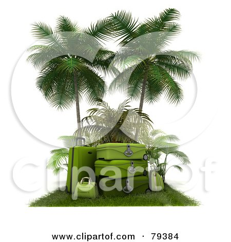 Royalty-Free (RF) Clipart Illustration of a Stack Of 3d Green Luggage On A Grassy Mat Under Palm Trees by Frank Boston