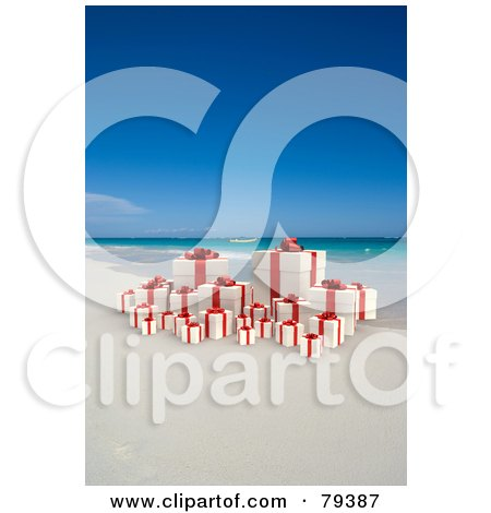 Royalty-Free (RF) Clipart Illustration of a 3d Group Of Yellow And Red Christmas Presents On A Tropical Beach by Frank Boston