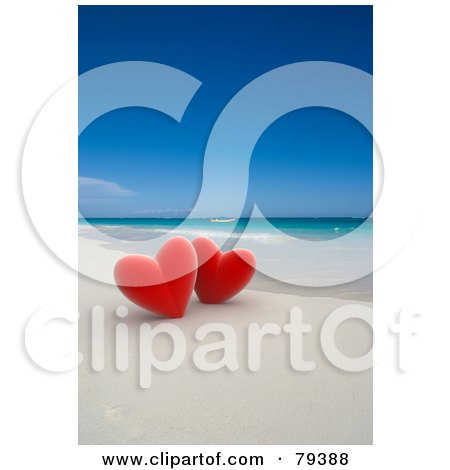 Royalty-Free (RF) Clipart Illustration of a Couple Of 3d Red Hearts On A Tropical Beach by Frank Boston