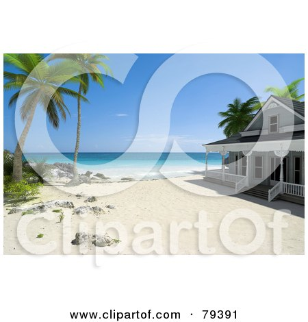 Royalty-Free (RF) Clipart Illustration of a 3d Beachfront Home Under Palm Trees On A Tropical Beach by Frank Boston
