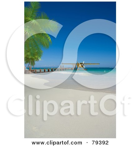 Royalty-Free (RF) Clipart Illustration of a 3d Yellow Floatplane At The End Of A Pier On A Tropical Beach by Frank Boston