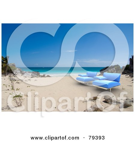 Royalty-Free (RF) Clipart Illustration of a Pair Of 3d Blue Modern Beach Chairs On A Tropical Beach by Frank Boston