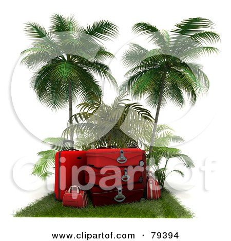 Royalty-Free (RF) Clipart Illustration of a Stack Of 3d Red Luggage On A Grassy Mat Under Palm Trees by Frank Boston