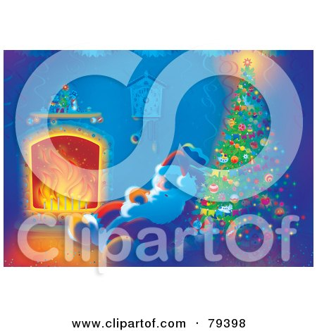 Royalty-Free (RF) Stock Illustration of Santa Sleeping By The Warmth Of A Fire Near A Christmas Tree by Alex Bannykh