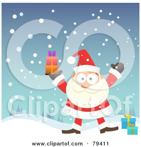 Royalty-Free (RF) Stock Illustration of Santa Standing In The Snow And Holding Up A Stack Of Gifts by Qiun