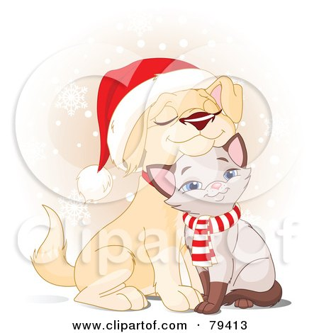 Royalty-Free (RF) Stock Illustration of a Cuddly Christmas Yellow Lab Puppy And Siamese Kitten Wearing A Santa Hat And Scarf by Pushkin