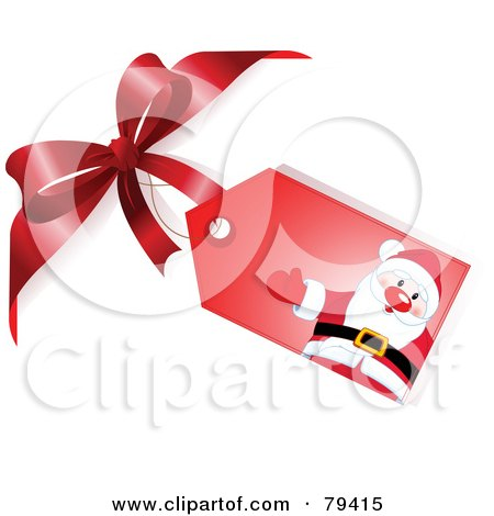 Royalty-Free (RF) Stock Illustration of a Red Santa Gift Tag Attached To A Red Bow by Pushkin