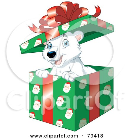Royalty-Free (RF) Stock Illustration of a Happy Polar Bear Popping Out Of A Christmas Gift Box With Santa Wrapping Paper by Lawrence Christmas Illustration