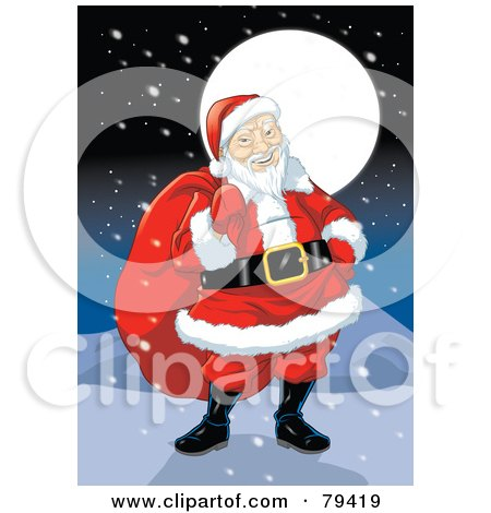 Royalty-Free (RF) Stock Illustration of an Asian Santa Claus Carrying His Sack On A Snowy Night by Lawrence Christmas Illustration
