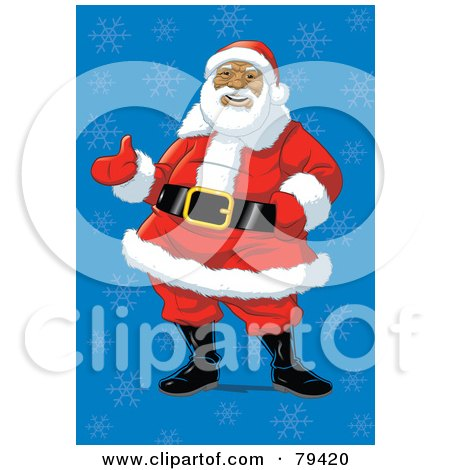 Royalty-Free (RF) Stock Illustration of an African American Santa Claus Standing In A Jolly Pose Over A Blue Snowflake Background by Lawrence Christmas Illustration