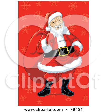 Royalty-Free (RF) Stock Illustration of an Asian Santa Claus Carrying His Sack Over A Red Snowflake Background by Lawrence Christmas Illustration