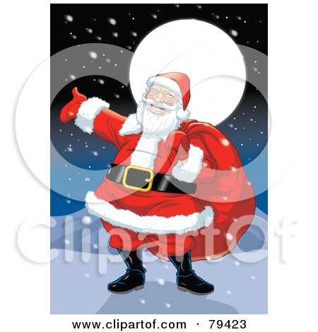 Royalty-Free (RF) Stock Illustration of a Jolly Caucasian Santa Claus Carrying His Sack On A Snowy North Pole Night by Lawrence Christmas Illustration