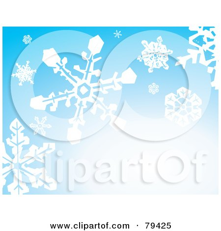 Royalty-Free (RF) Stock Illustration of a Gradient Blue Background With Falling White Winter Snowflakes by xunantunich