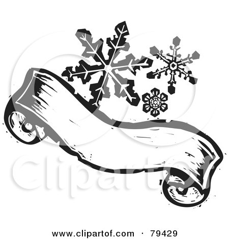 Royalty-Free (RF) Stock Illustration of Black And White Snowflakes Over A Carved Textured Christmas Banner by xunantunich