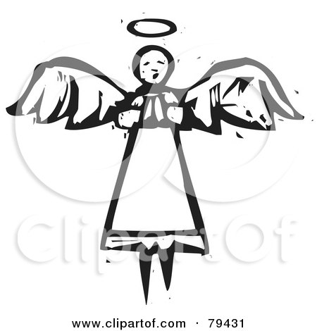 Royalty-Free (RF) Stock Illustration of a Black And White Flying Angel In Prayer, With A Carved Texture by xunantunich