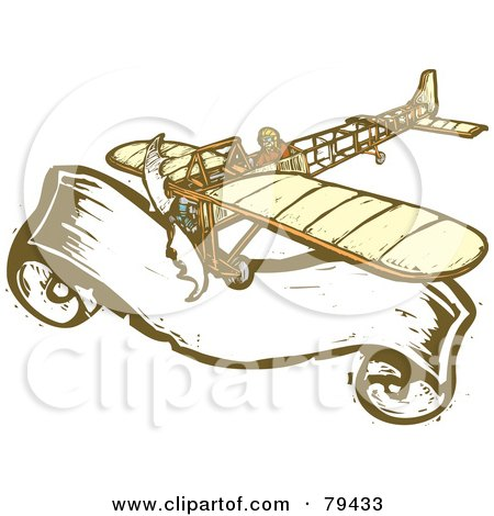 Royalty-Free (RF) Stock Illustration of a Bleriot Pilot Flying His Plane Over A Large Banner, With A Carved Texture by xunantunich