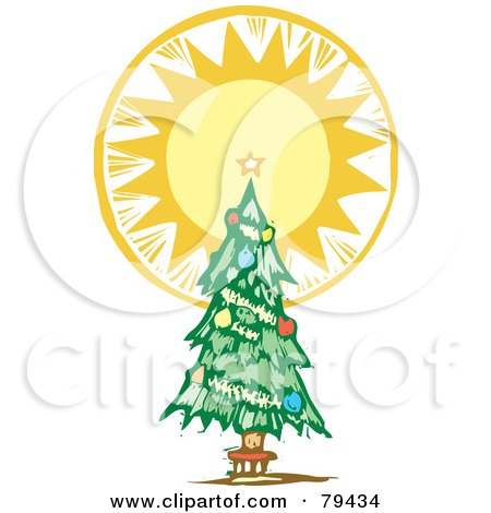 Royalty-Free (RF) Stock Illustration of a Trimmed Christmas Tree With A Bright Shining Tree Topper Star by xunantunich