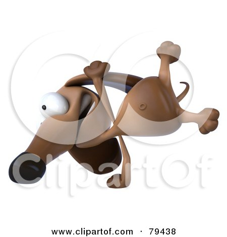 Royalty-Free (RF) Clipart Illustration of a 3d Brown Pookie Wiener Dog Character Doing A Hand Stand - Version 2 by Julos