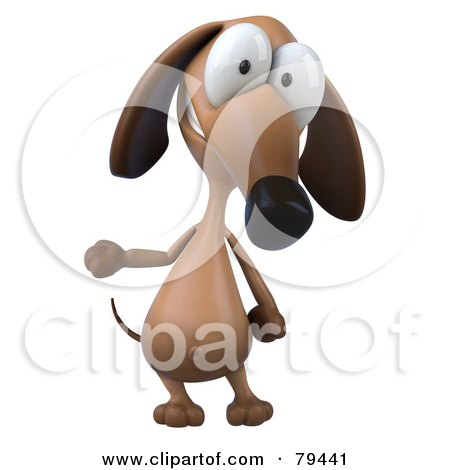 Royalty-Free (RF) Clipart Illustration of a 3d Brown Pookie Wiener Dog Character Standing And Gesturing by Julos