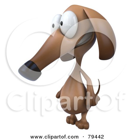 Royalty-Free (RF) Clipart Illustration of a 3d Brown Pookie Wiener Dog Character Facing Left by Julos