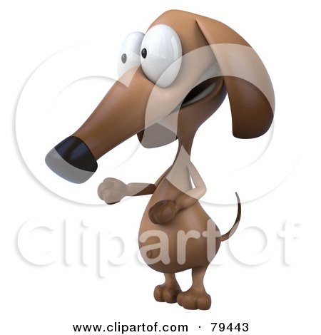 Royalty-Free (RF) Clipart Illustration of a 3d Brown Pookie Wiener Dog Character Facing To The Left by Julos