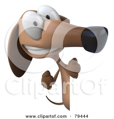 Royalty-Free (RF) Clipart Illustration of a 3d Brown Pookie Wiener Dog Character Looking Around A Sign Board - Version 2 by Julos