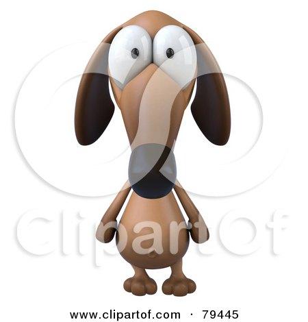 3d Brown Pookie Wiener Dog Character Facing Front Posters, Art Prints