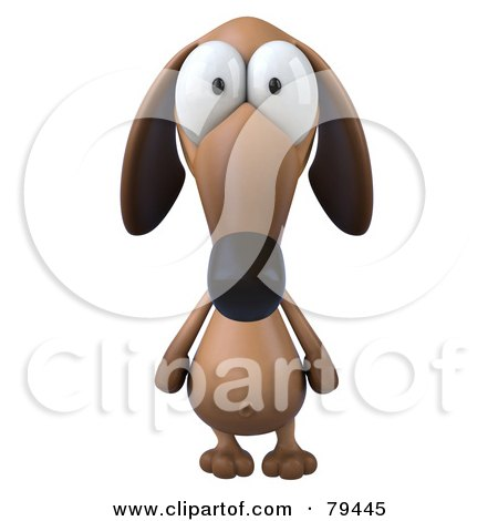Royalty-Free (RF) Clipart Illustration of a 3d Brown Pookie Wiener Dog Character Facing Front by Julos